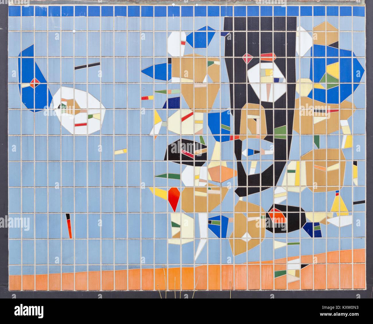 Wandmosaik Schule Hannover Stockbild