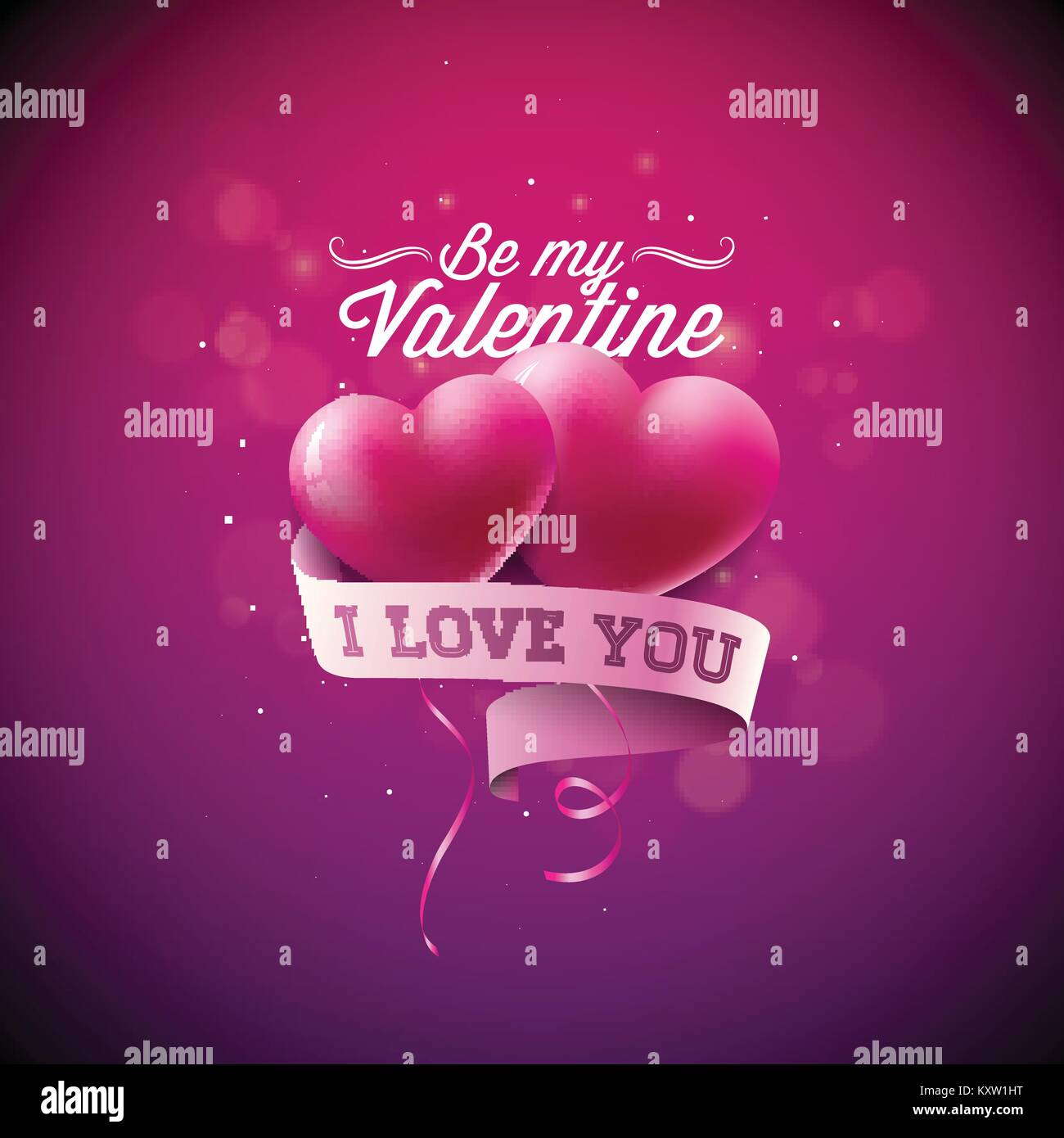 Happy Valentines Tag Abbildung mit roten Herzen auf glänzenden ...