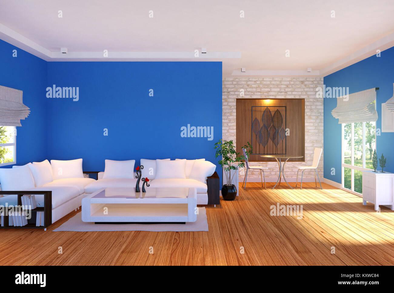 Modernes Wohnzimmer Einrichtung mit Möbeln und blau leere Wand, 3D ...