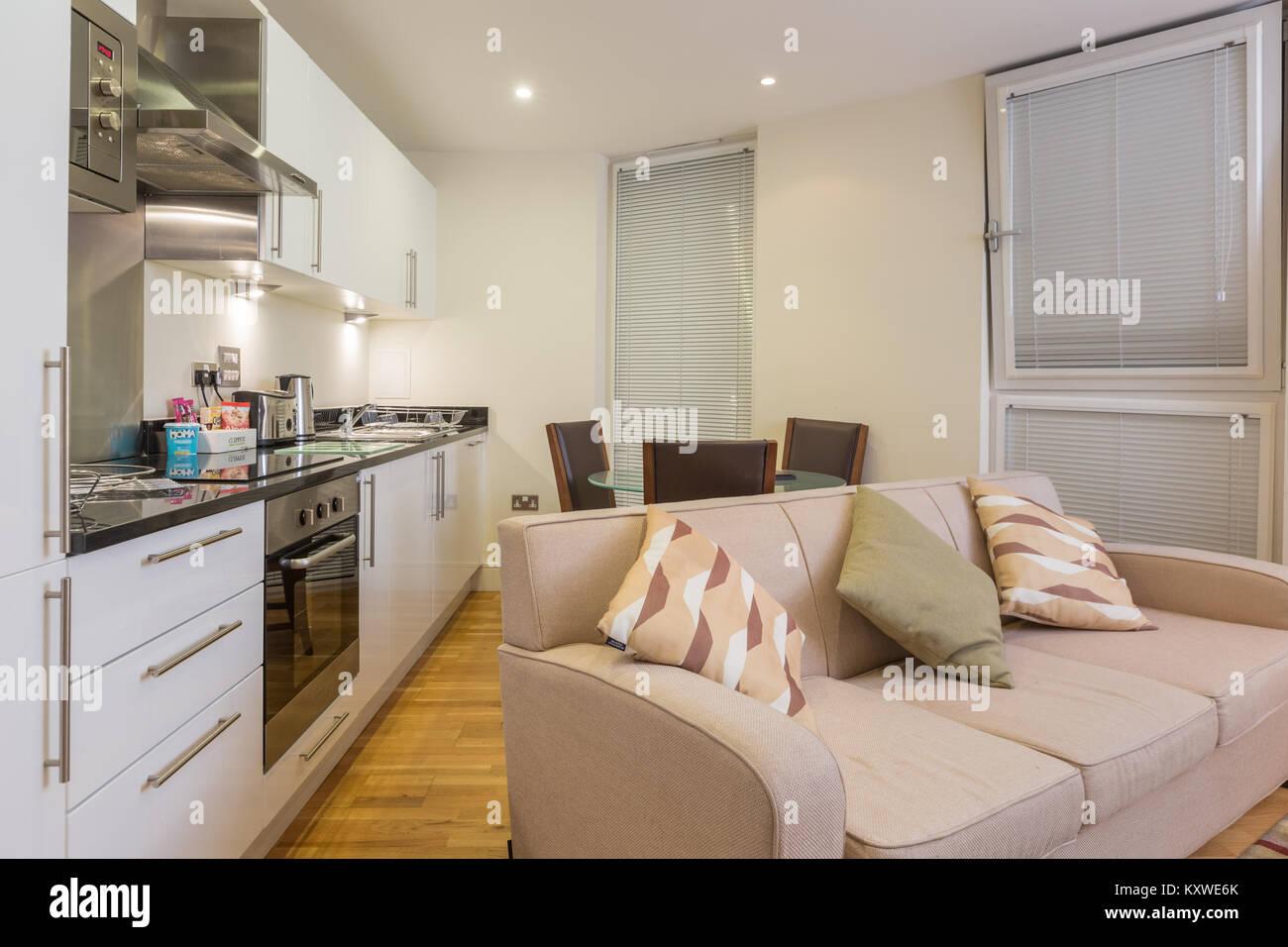 Moderne offene Wohnzimmer und Küche Abendessen Stockfoto ...