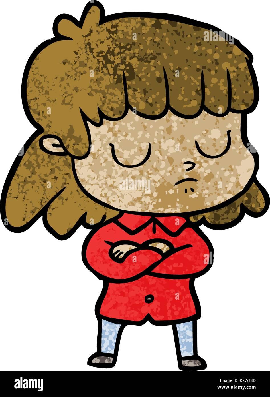 Cartoon gleichgültigen Frau falten Arme Stockbild