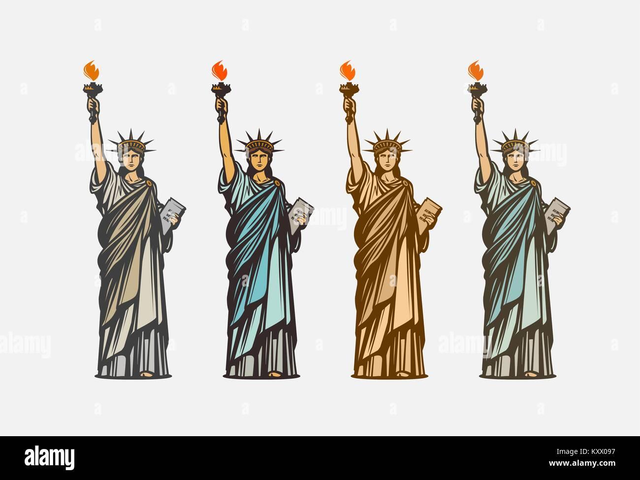 Statue Liberty Crown Cartoon Icon Stockfotos & Statue Liberty Crown ...