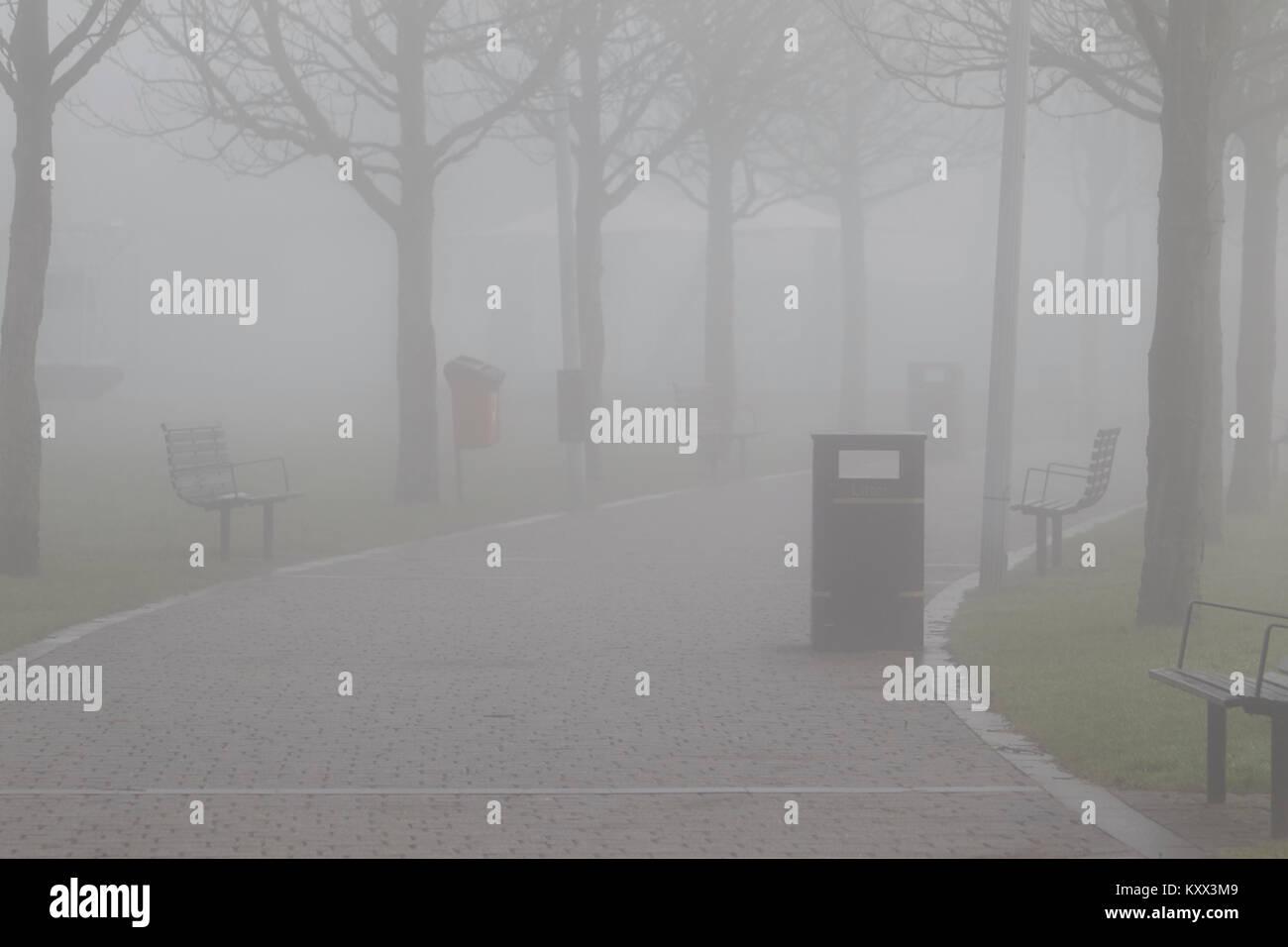 Park Fußweg an einem nebligen Tag im Vereinigten Königreich Stockbild