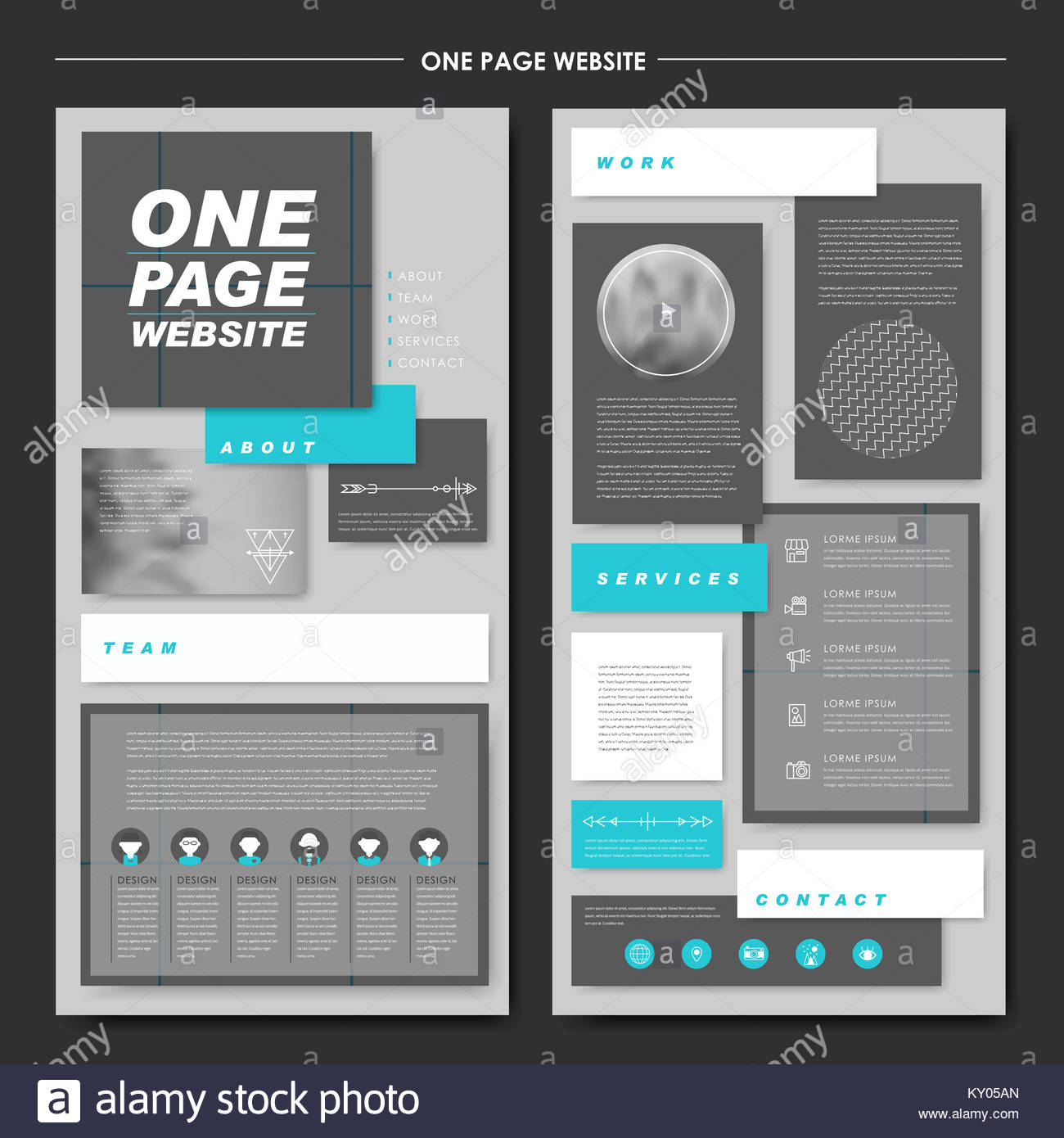 Contemporary One Page Website Template Stockfotos & Contemporary One ...