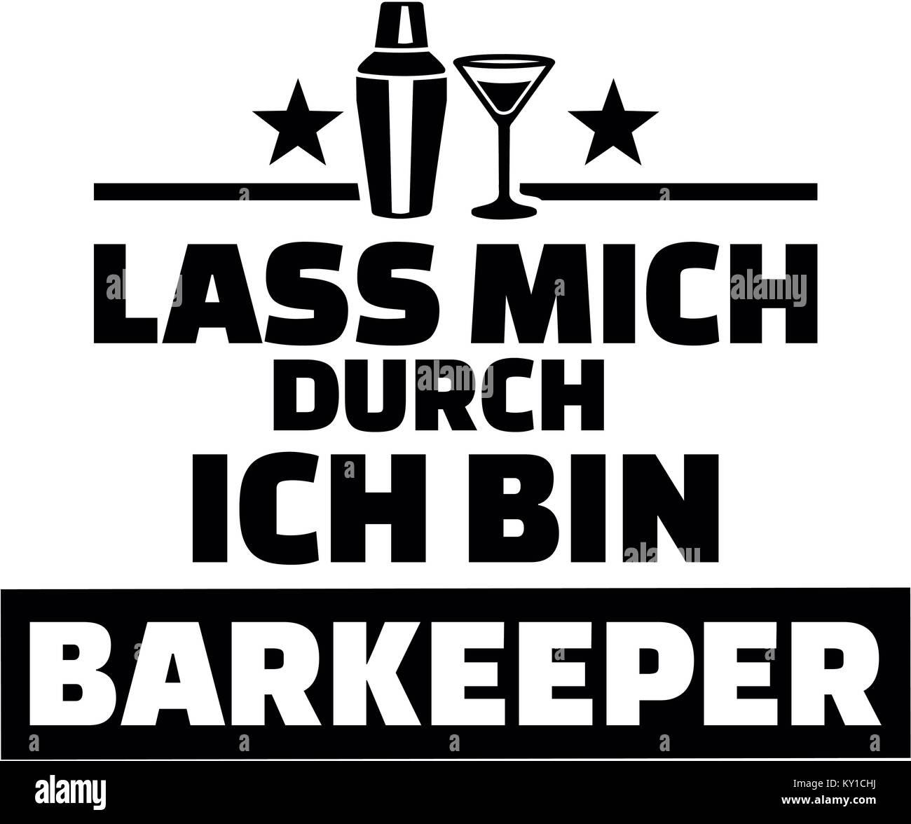 Deutsche Wörter für Lasst mich durch Ich bin ein Barkeeper mit Shaker und Glas Stockbild