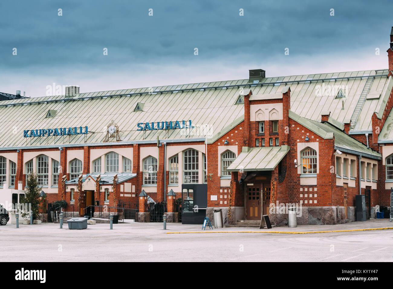 Helsinki, Finnland. Hietalahti Markthalle in der Alten Halle von Hietalahdentie in Helsinki und beinhalten Markt, Stockbild