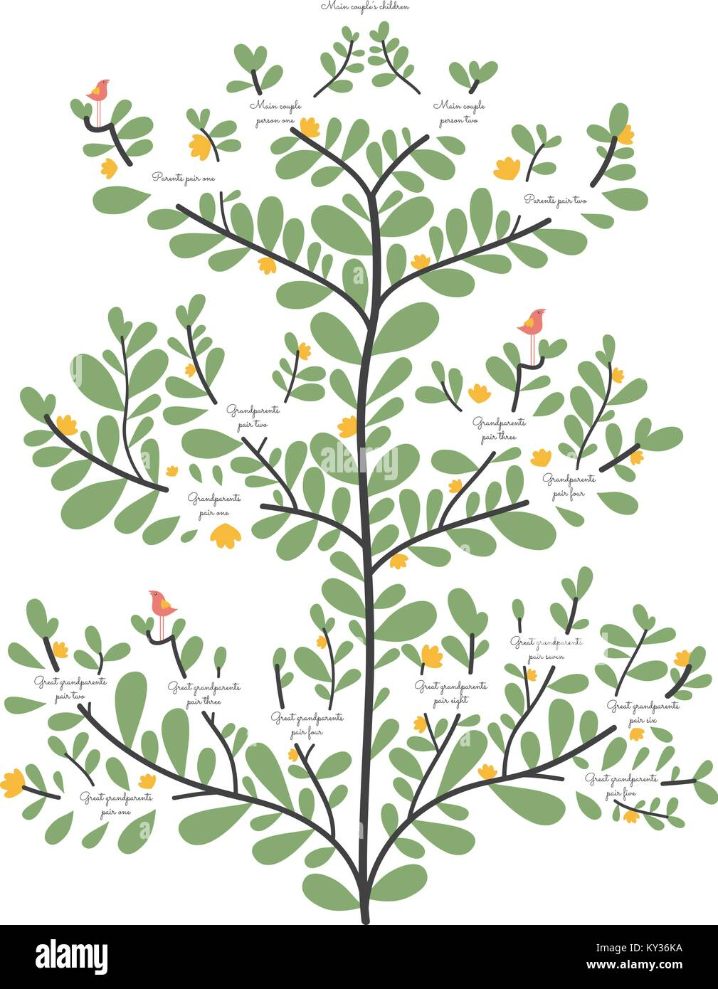Family Tree, Abstammung Linie elegante organische Illustrierte vector Template Stockbild
