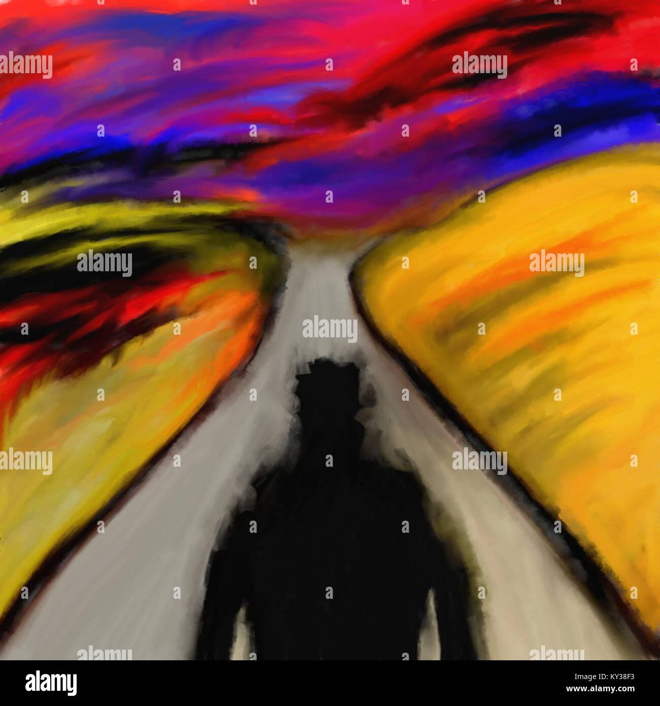 Daemon Auf Der Strasse Abstrakte Kunst Aquarell Malerei Bosen Schatten Und Rote Himmel Hintergrund Stockfotografie Alamy