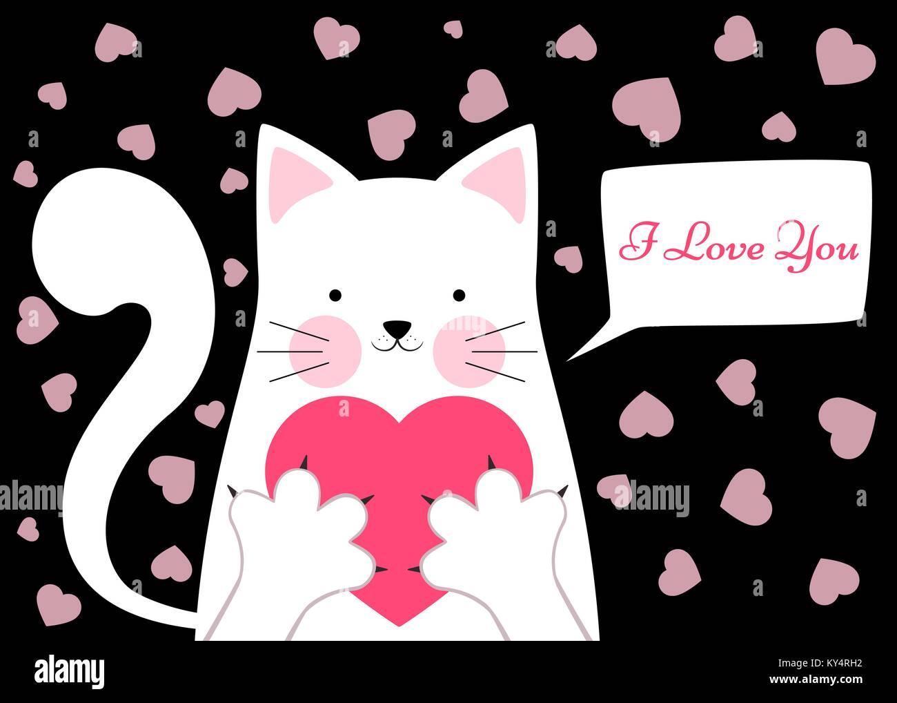 Suss Lustig Katze Mit Herz Valentinstag Abbildung Vektor Abbildung