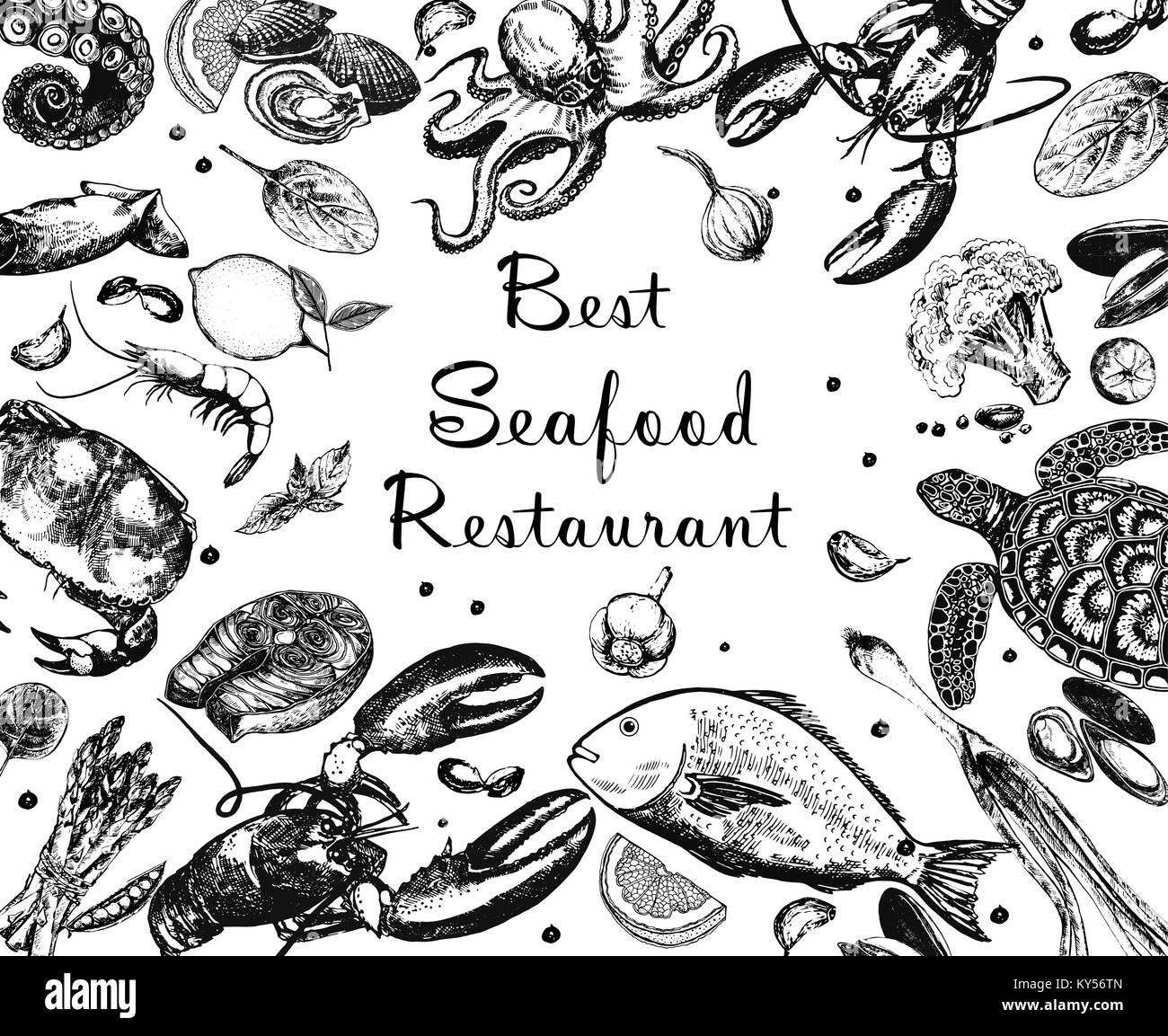 Handskizze Stil Meeresfrüchte mit Gemüse und Obst. Vector ...