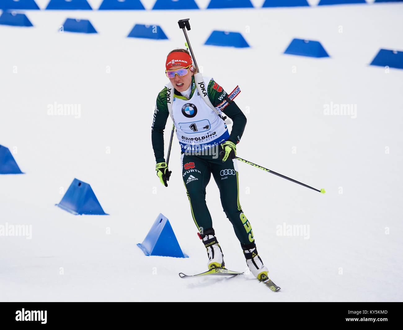 Ruhpolding, Deutschland. 12 Jan, 2018. Laura DAHLMEIER (GER) Frau Relais, IBU Biathlon Weltcup, Wm, Chiemgau Arena Stockbild