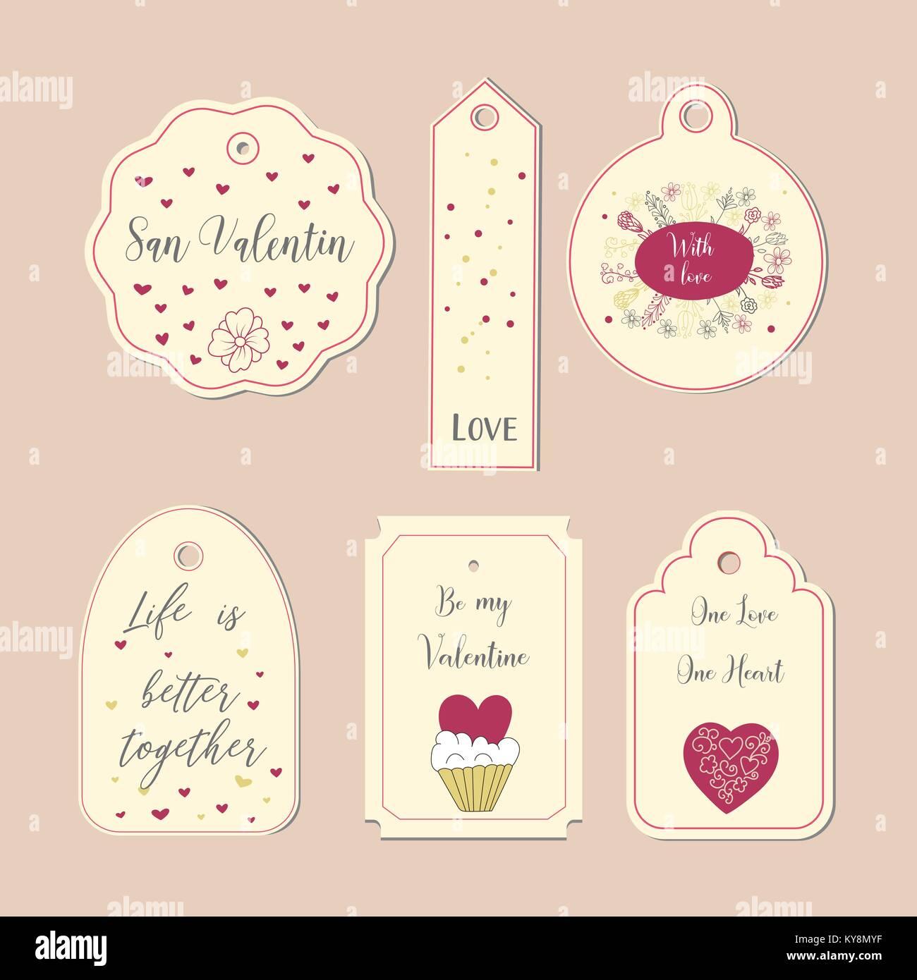 Karte mit Doodle herzen Symbole für Valentines Tag, retro Farben ...