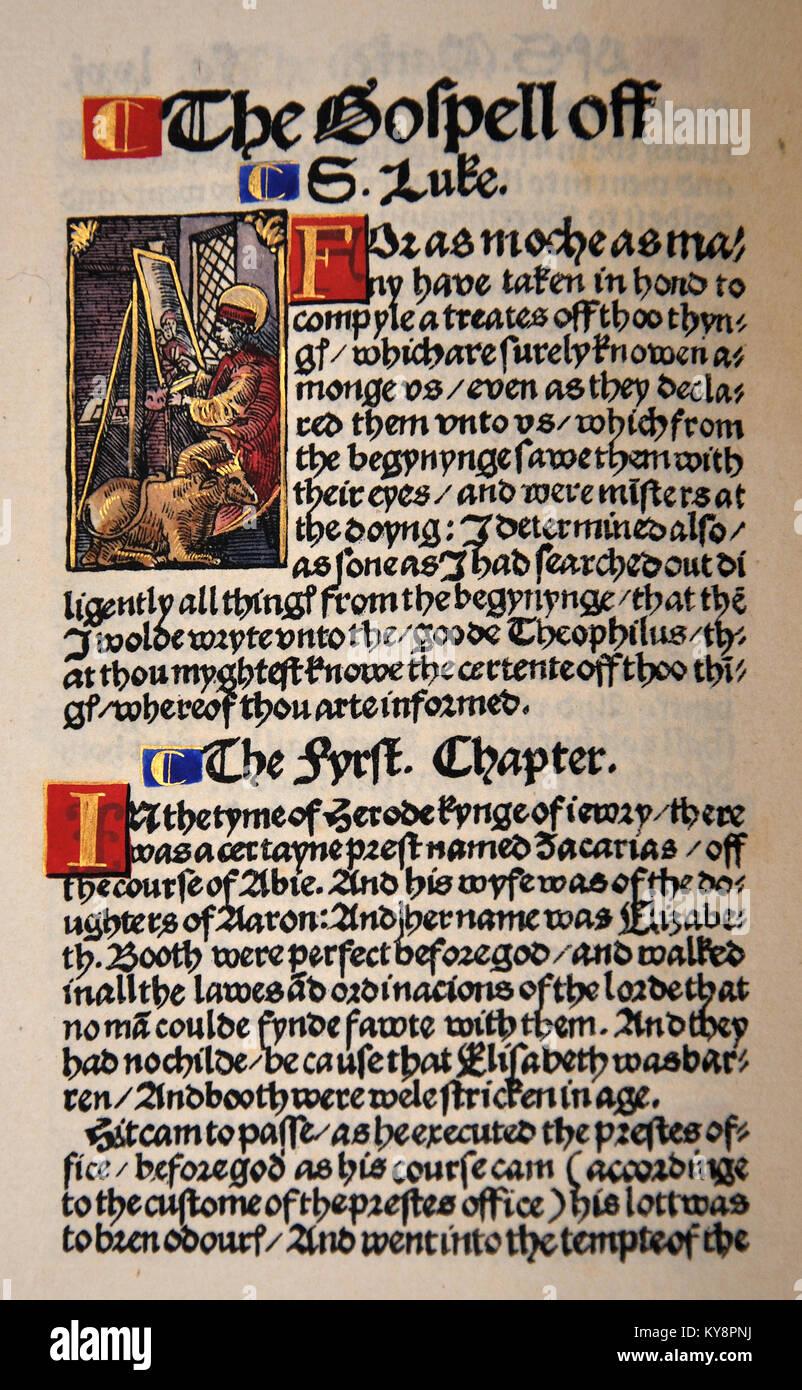 Titel Seite aus dem Buch von Jehuda in einem Faksimile von William Tyndale's 1525 Edition der englischen Neuen Stockbild