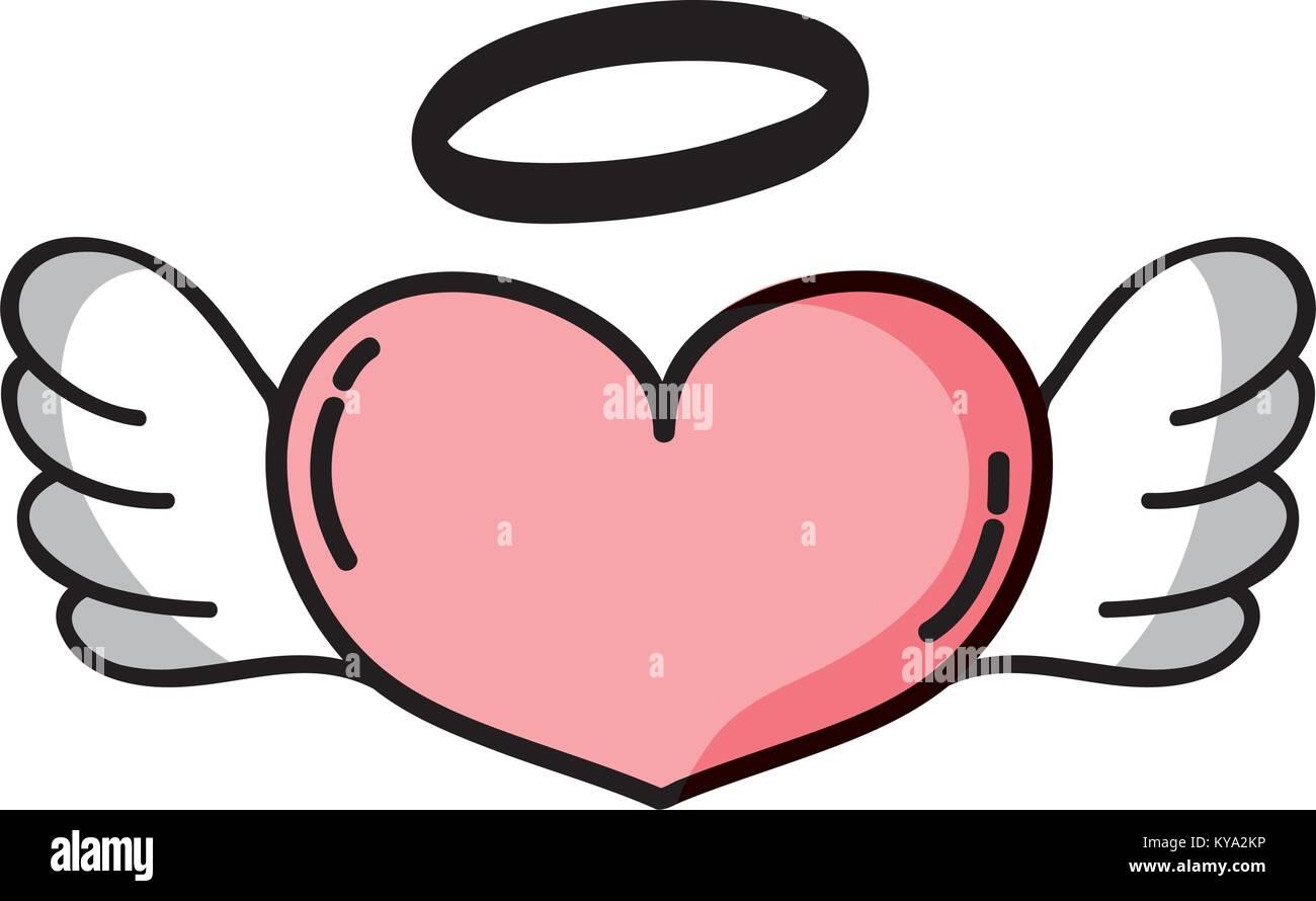 Liebe Herz mit Flügeln und Heiligenschein design Stockbild