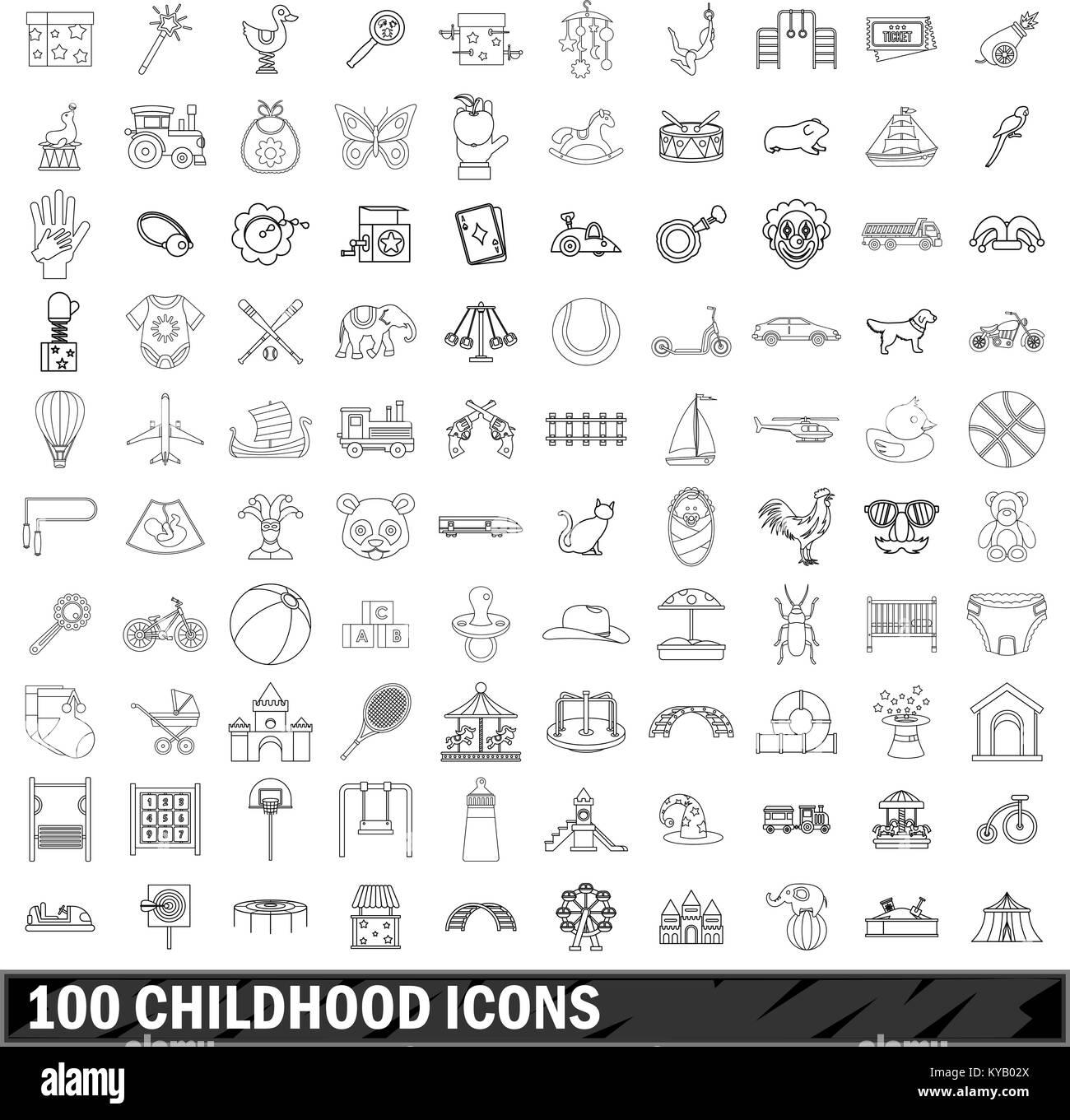 100 Kindheit Symbole in der gliederungsansicht Stil für alle Design vector Abbildung Stockbild