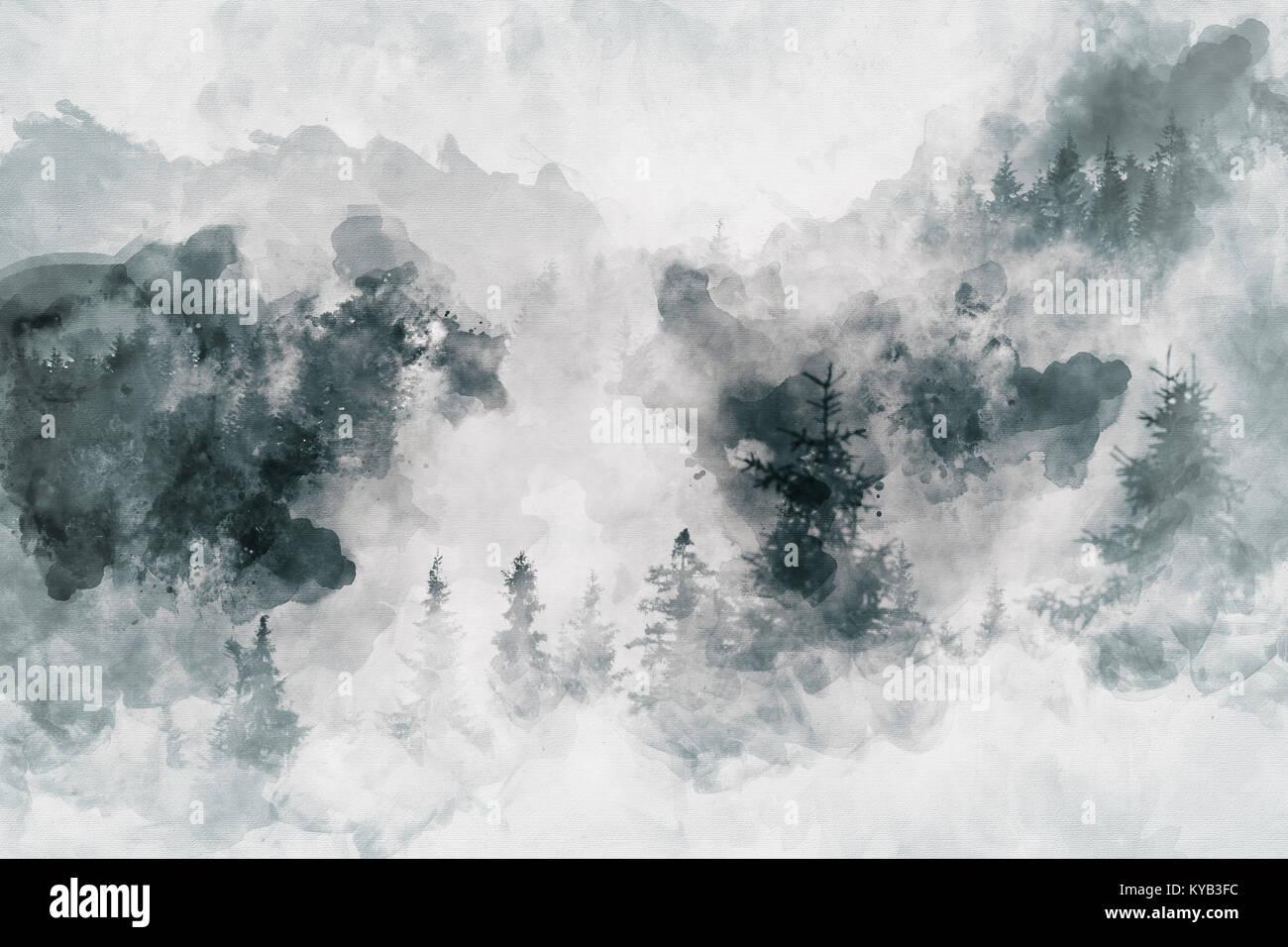Abstrakte Kunst Arbeiten Die Einen Dunklen Wald Mit Birken Mixed Media Stockfotografie Alamy