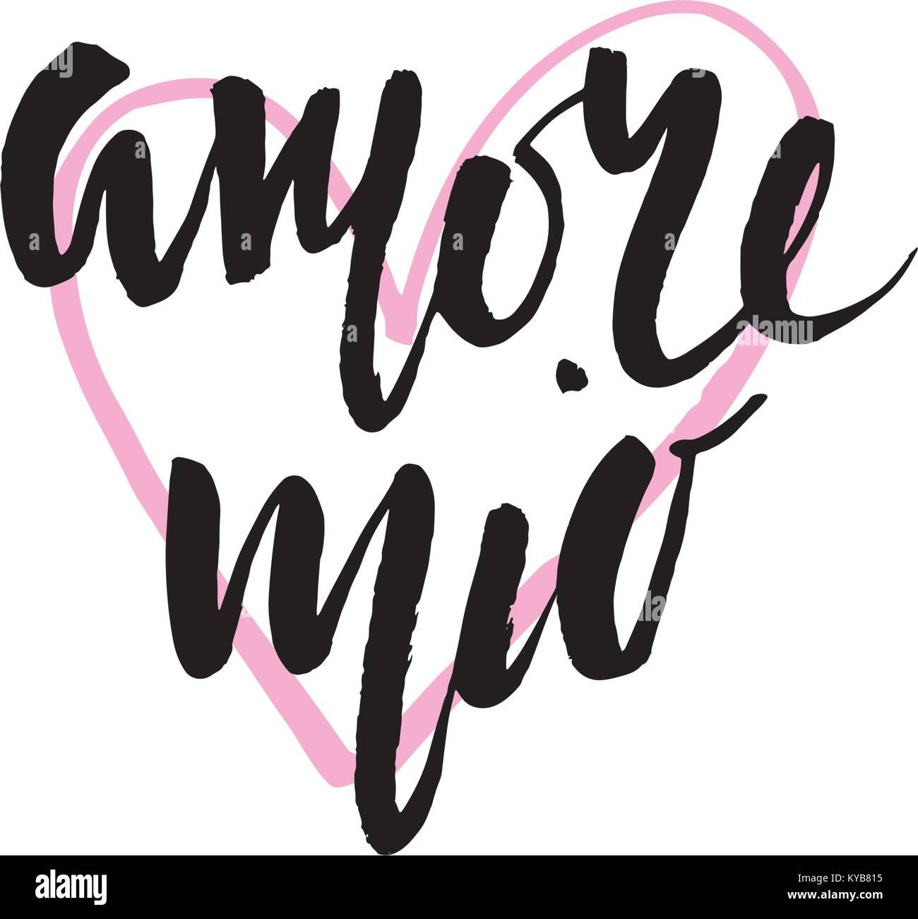 Amore Mio. Valentines Tag Kalligraphie glitter Karte. Hand design ...