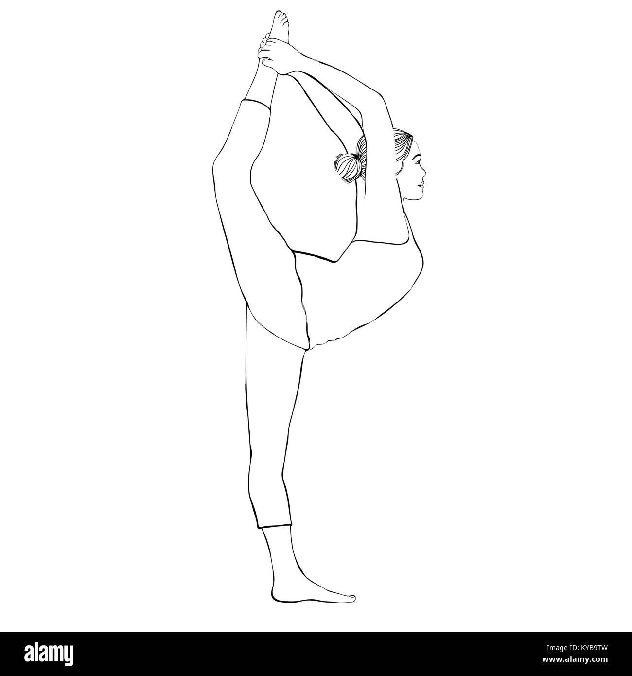 Yoga Pose, Frau tun stretching Beine, leg Split, Vektor Färbung ...