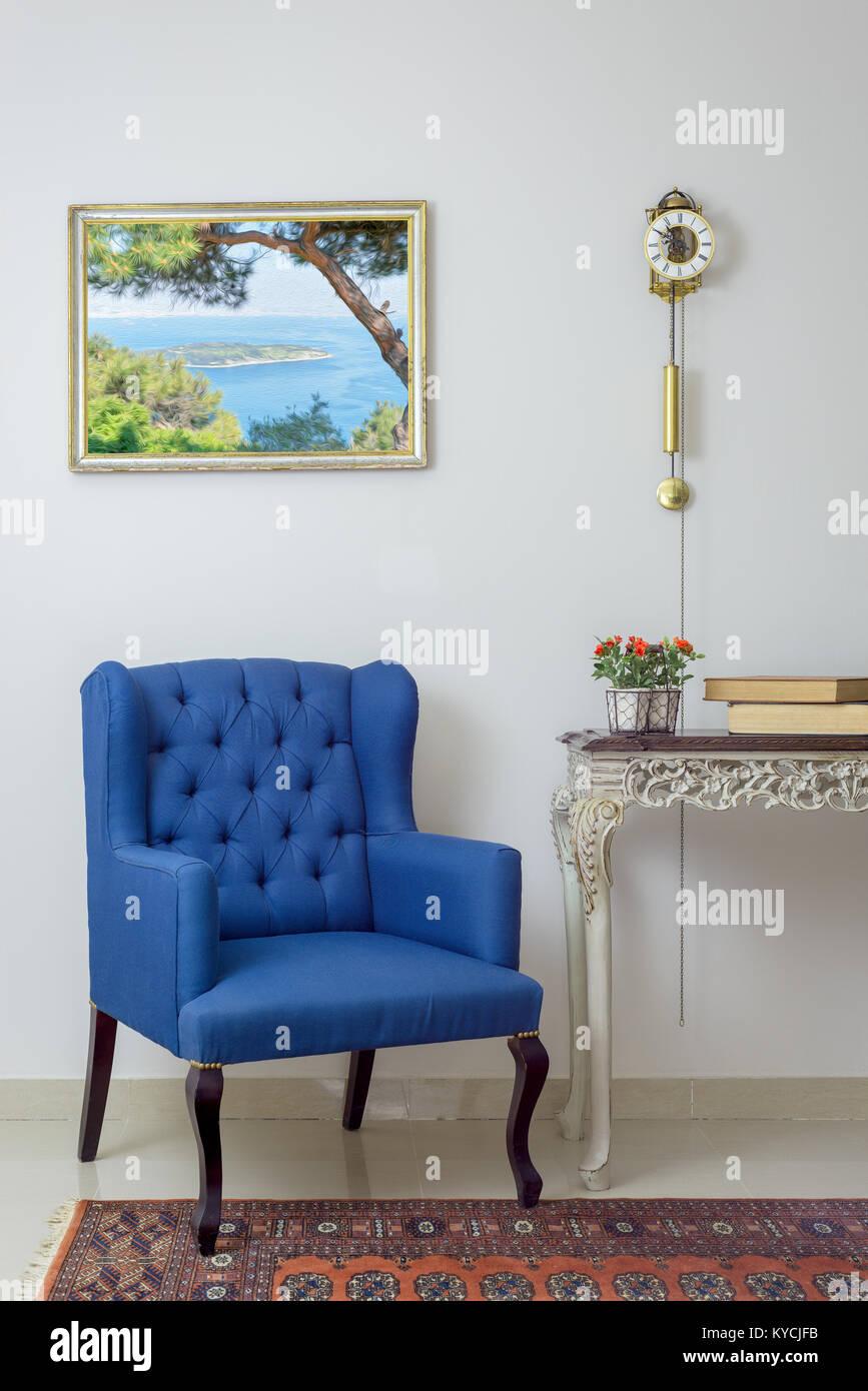Jahrgang Möbel Innere Zusammensetzung Der Retro Blau Sessel