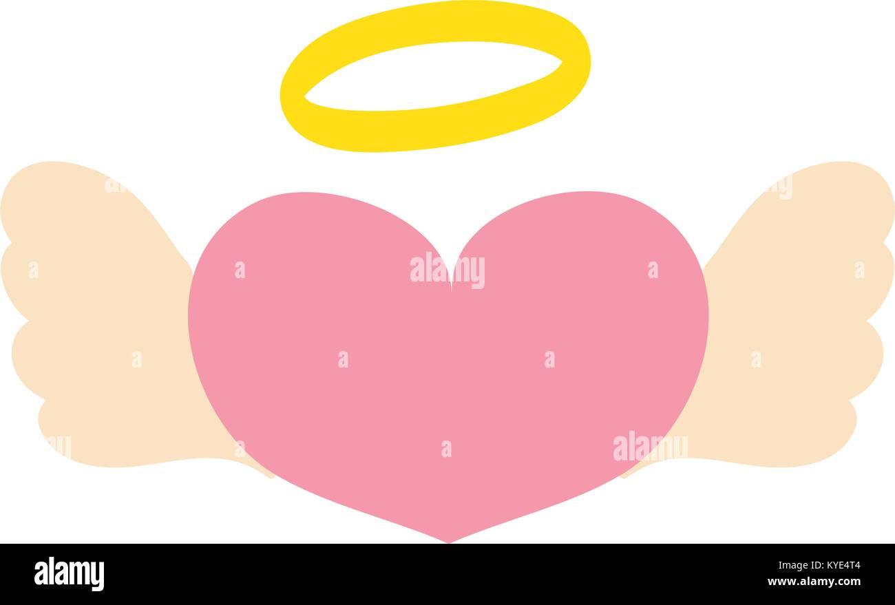 Bunte Liebe Herz mit Flügeln und Heiligenschein design Stockbild
