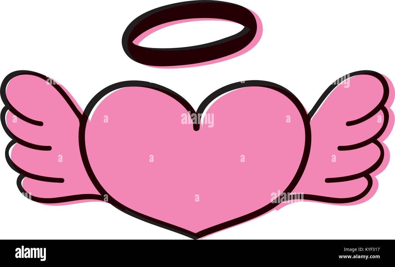 Farbe Liebe Herz mit Flügeln und Heiligenschein design Stockbild