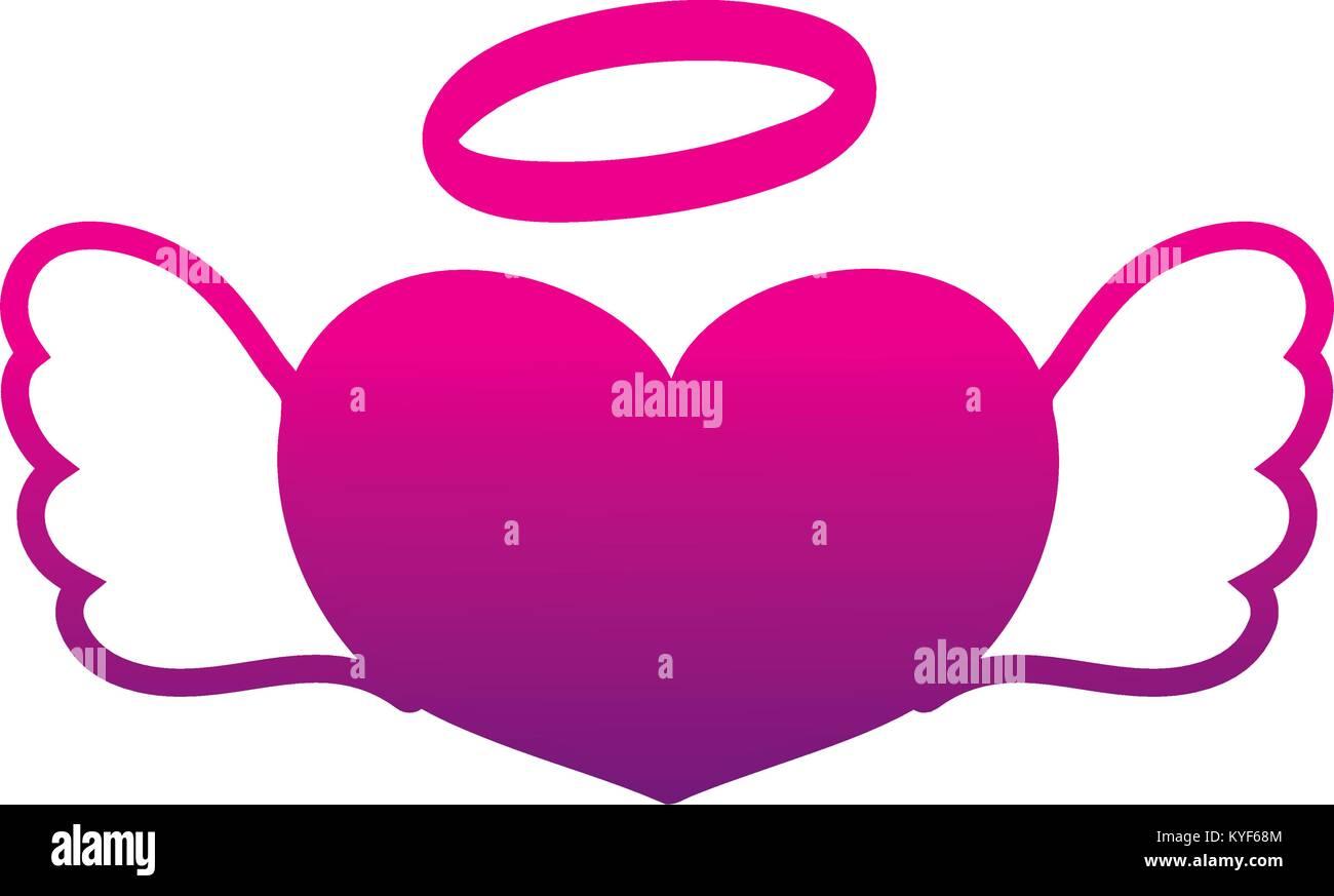 Silhouette Liebe Herz mit Flügeln und Heiligenschein design Stockbild