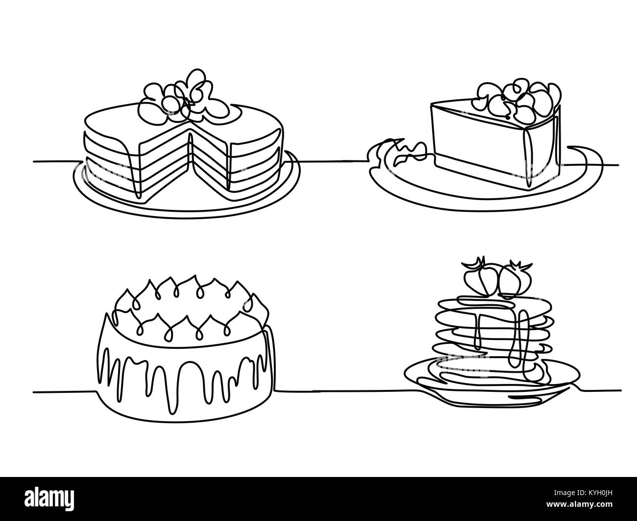 Stellen Sie Kontinuierliche Linie Zeichnen Von Großen Kuchen Vektor