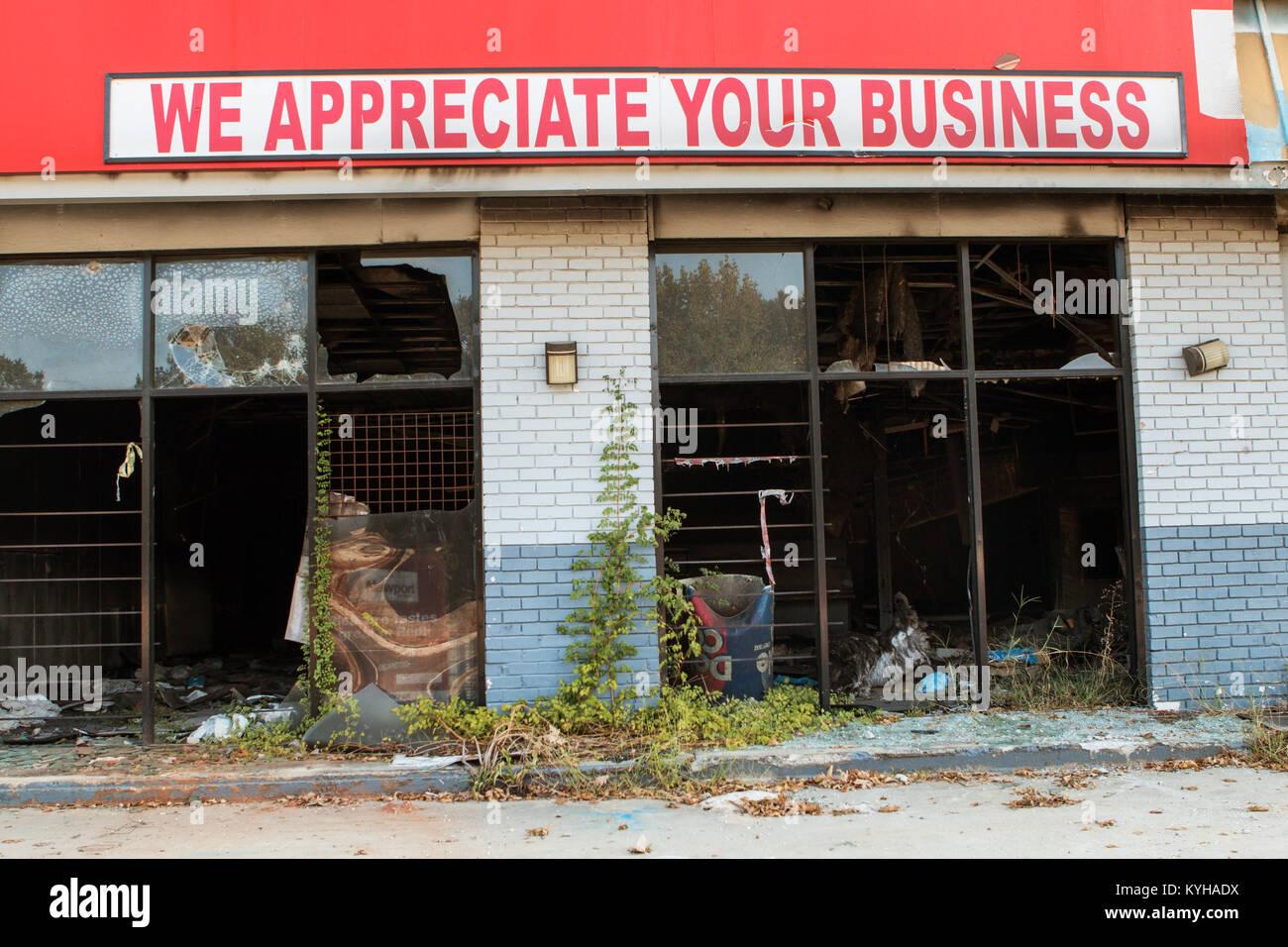 """Atlanta, GA, USA - 23. September 2017: ein Schild mit der Aufschrift """"wir Ihrem Unternehmen schätzen liegt Stockbild"""