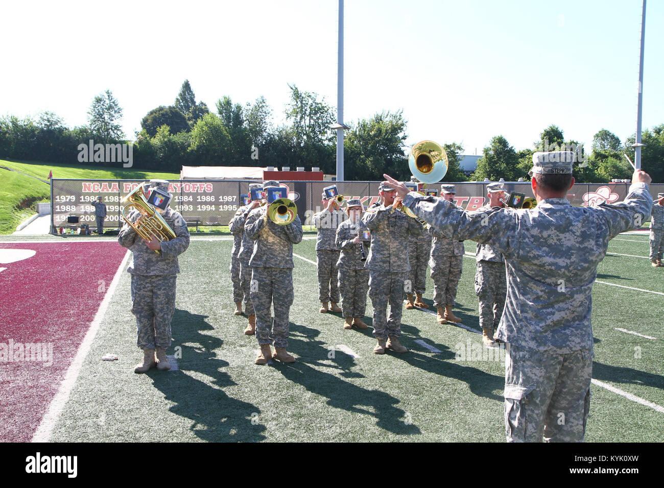 Die 149 Manöver Verbesserung Brigade (MEB) führte eine Änderung des Befehls und der Wechsel der Verantwortung Zeremonie Stockfoto