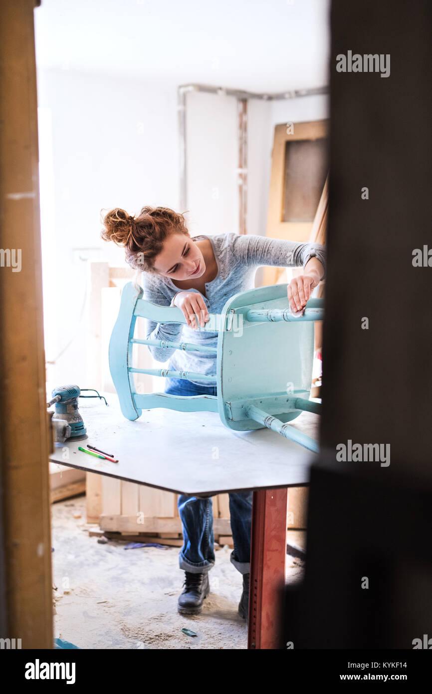 Kleine Unternehmen einer jungen Frau. Stockbild