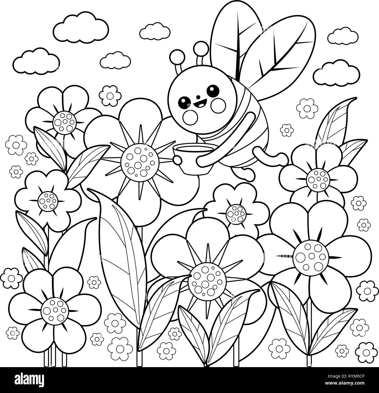 Eine Biene auf Blumen im Frühling fliegen. Schwarze und weiße ...