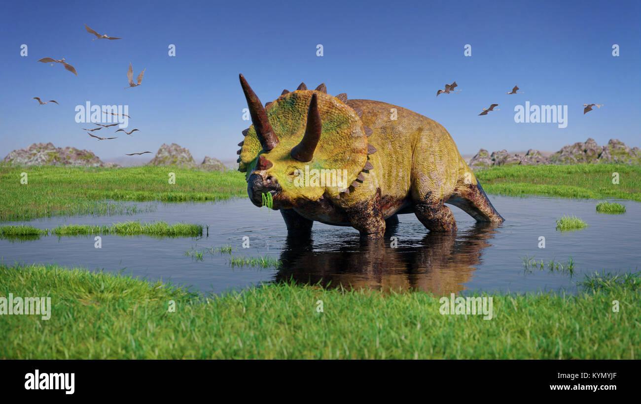 triceratops horridus dinosaurier und eine herde von flugsaurier aus der jurazeit ra essen. Black Bedroom Furniture Sets. Home Design Ideas