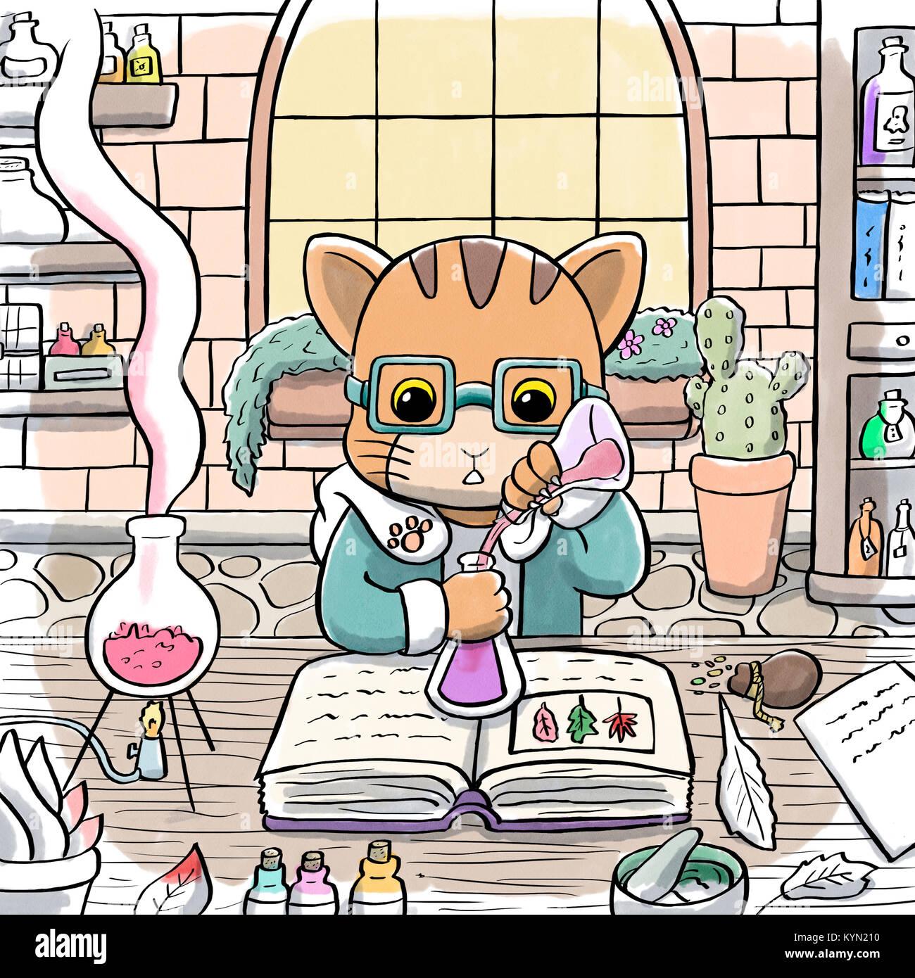 Alchemist Katze einen Trank brauen Stockfoto, Bild: 171951612 - Alamy