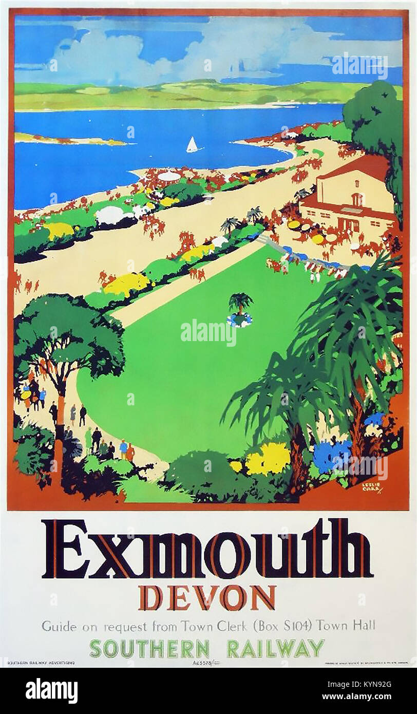 EXMOUTH, England. 30er Jahre Werbe Poster von Leslie Carr für Southern Railway Stockbild