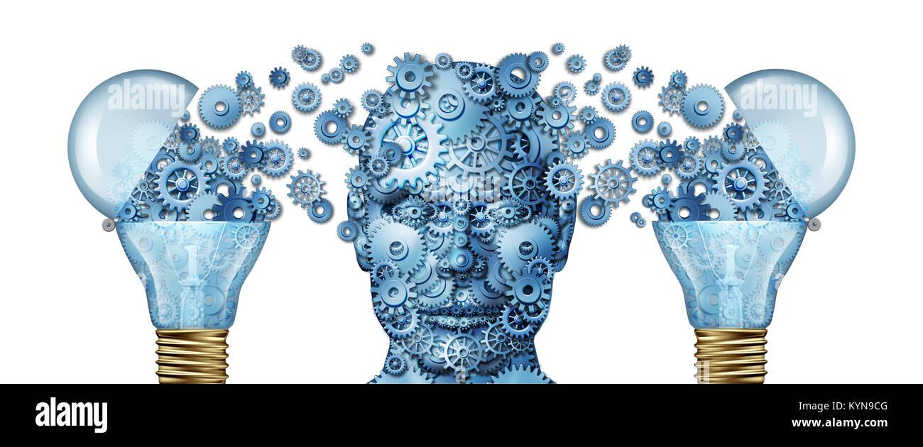 Corporate kreative Bildung und Wirtschaft wissen Consulting als Gänge als einem menschlichen Kopf und Glühlampe Stockbild