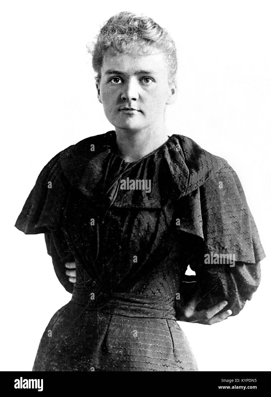 Marie Curie. Mit dem Nobelpreis ausgezeichneten Wissenschaftler, Marie Sklodowska Curie (1867-1934). Foto c. 1894/5 Stockbild