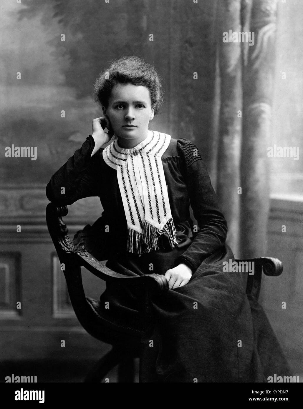 Marie Curie. Mit dem Nobelpreis ausgezeichneten Wissenschaftler, Marie Sklodowska Curie (1867-1934). Foto c 1903 Stockbild