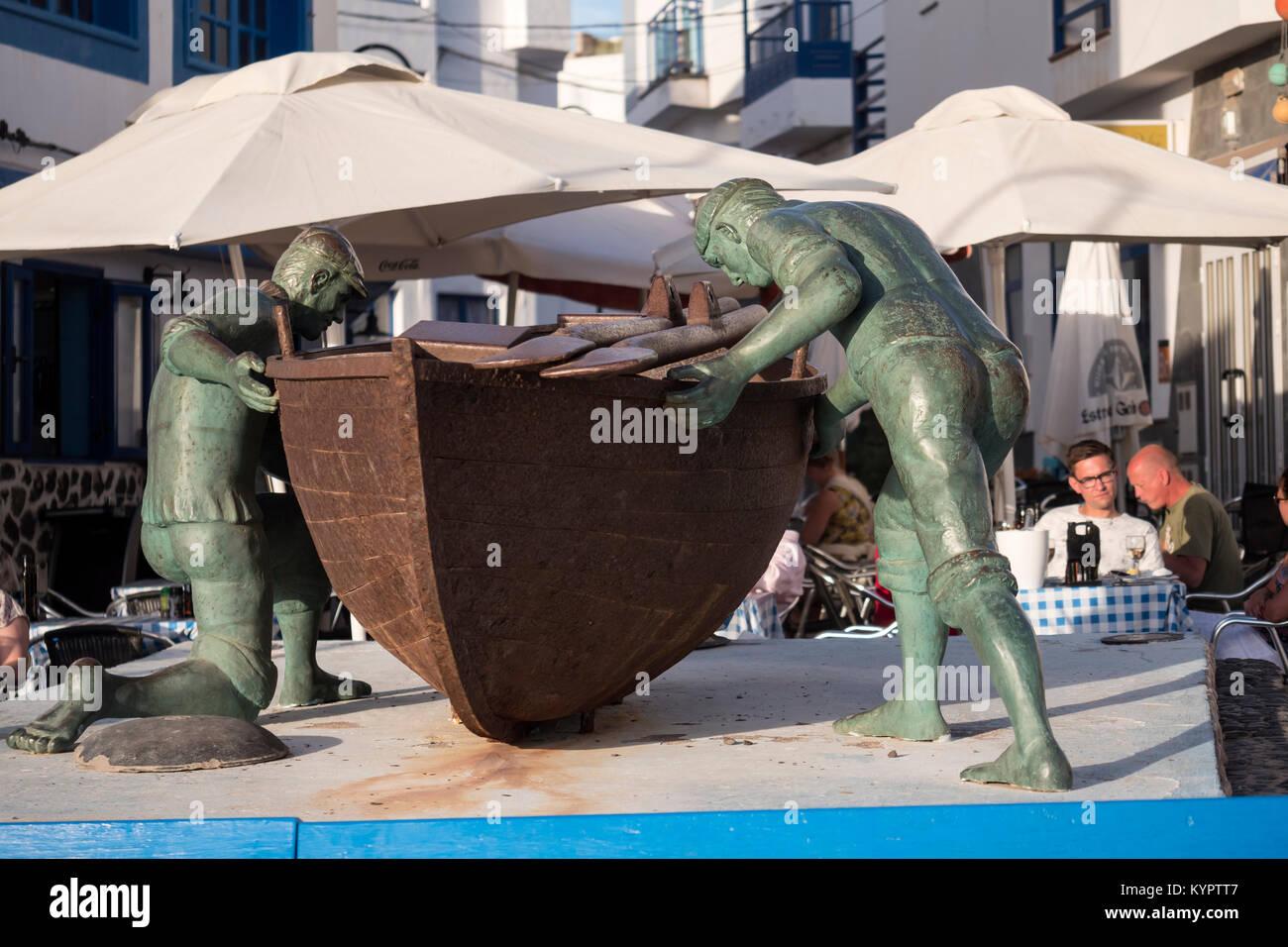 Fishermans Statue El Cotillo La Oliva Fuerteventura Kanaren Spanien Stockbild