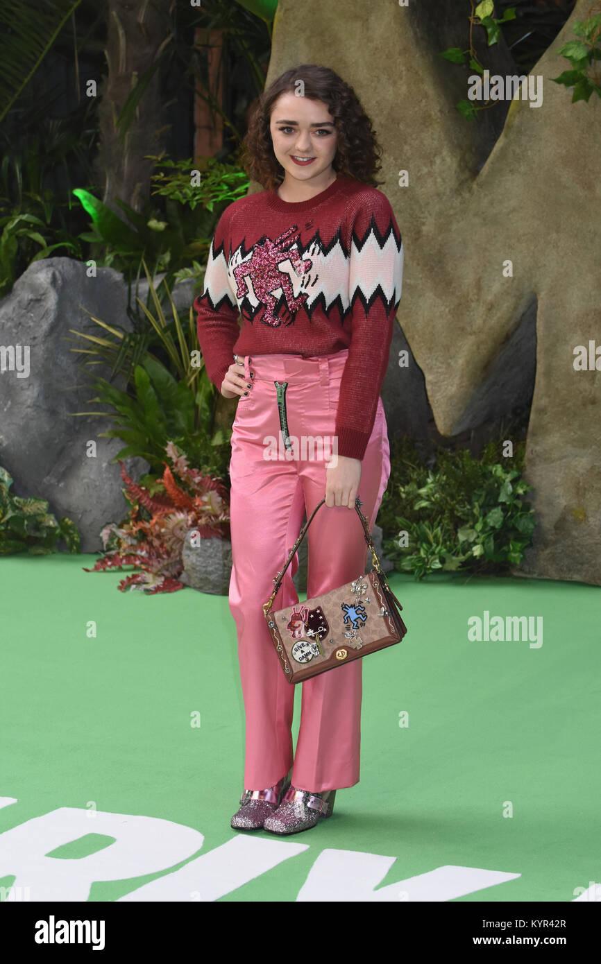 """Maisie Williams, """"die frühen Menschen"""" - Weltpremiere, BFI IMAX, Southbank, London, UK Stockbild"""