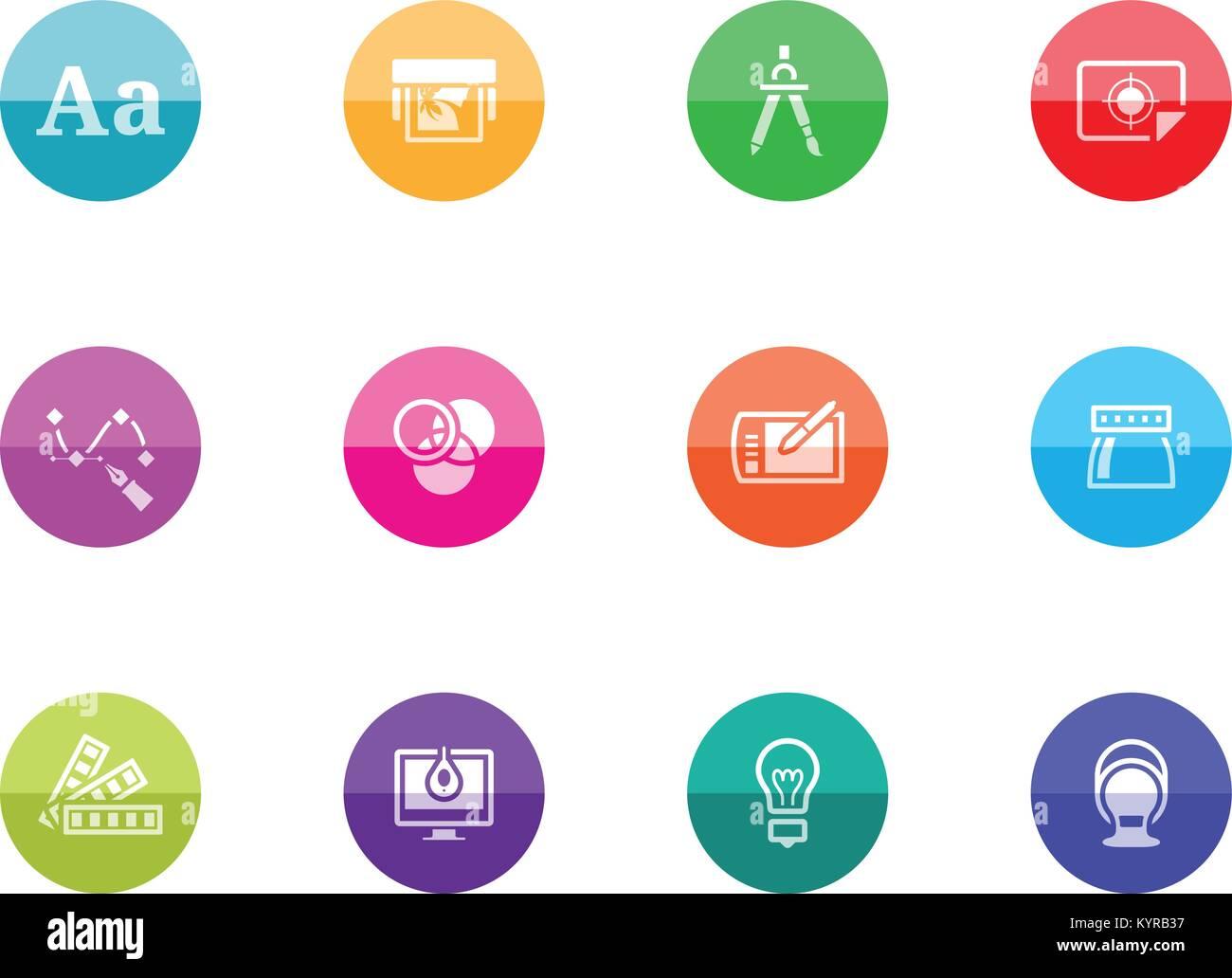 Druck Und Grafik Design Symbol Serie In Farbe Kreise Vector