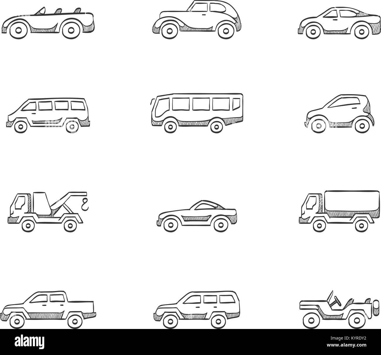 Auto Icons in der Skizze Vektor Abbildung - Bild: 172004870 - Alamy