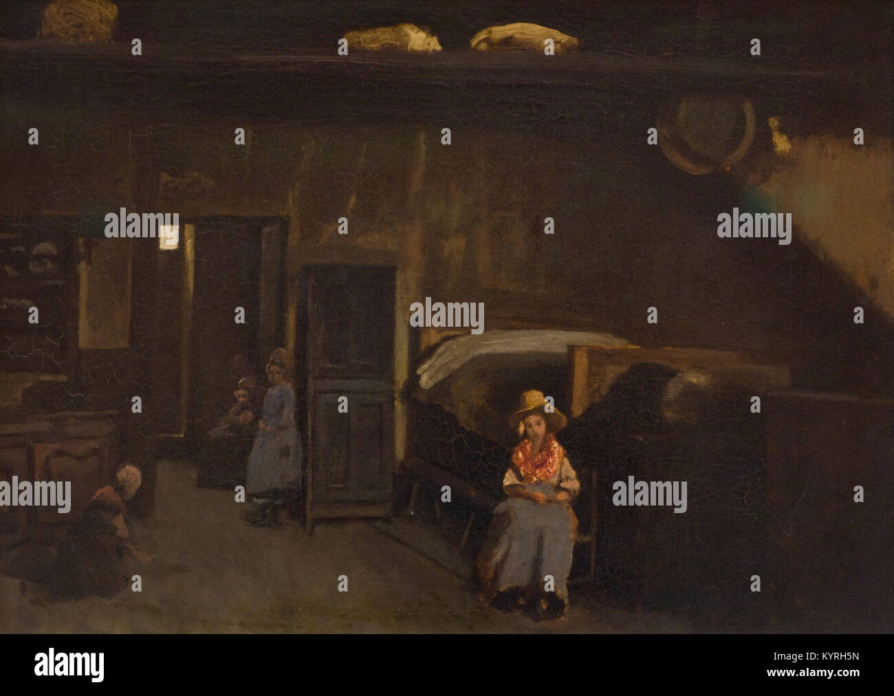 Camille Corot - Intérieur au Mas-Bilier 1850 XIX. Jahrhundert Stockbild
