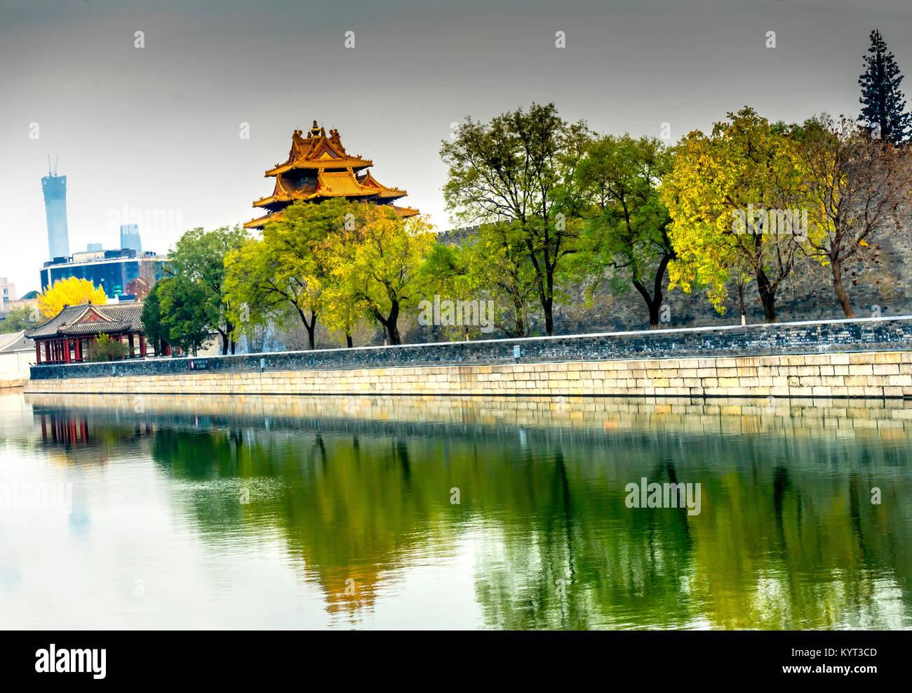 Pfeil Watch Tower Gugong Verbotene Stadt Graben Canal Plaace Wand Beijing China. Der Kaiserpalast in den 1600er Stockbild