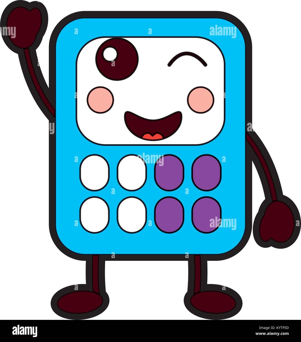 Taschenrechner Mathematik Kawaii Charakter Cartoon Vektor Abbildung