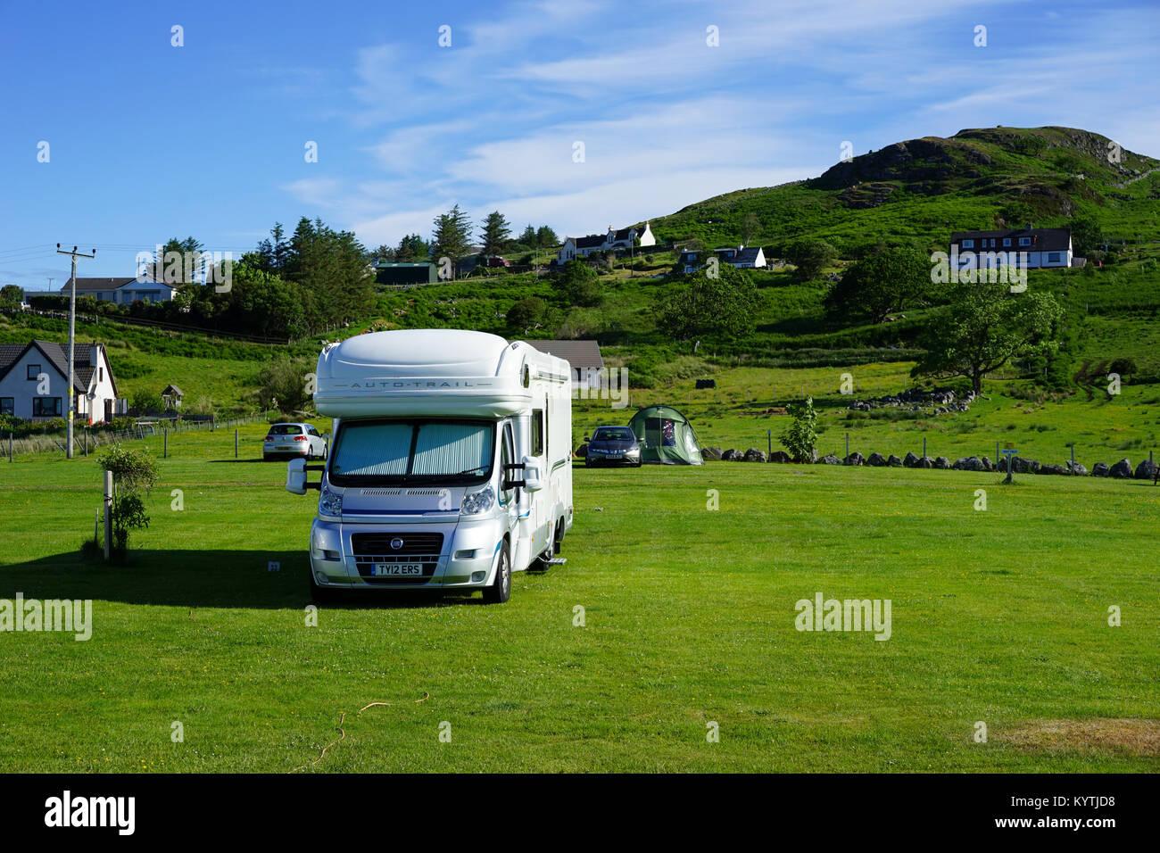 Reisemobil, Campingplatz in Gairloch, Wester Ross, North West Schottland, UK geparkt. Stockbild
