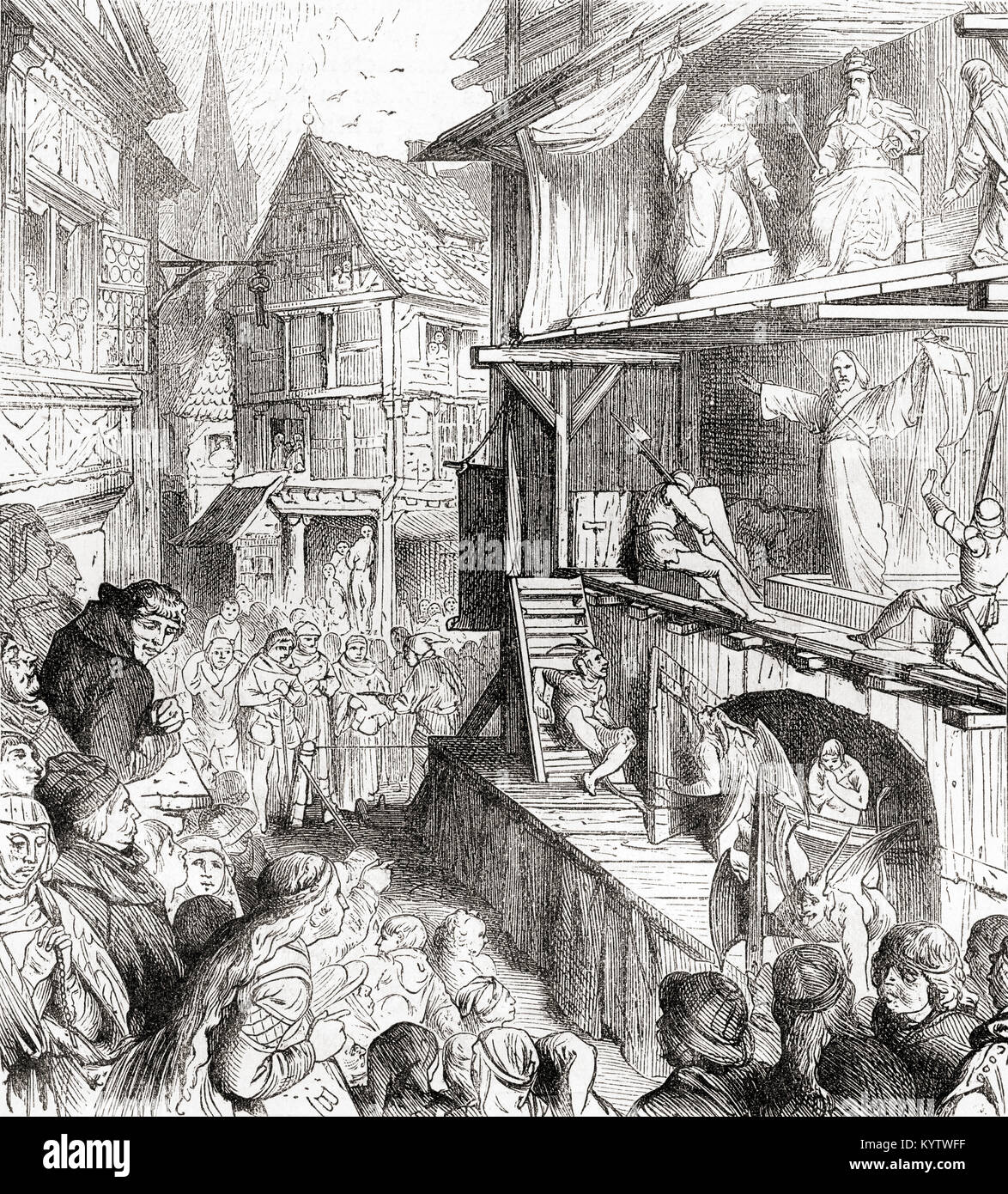 Ein Passionsspiel, einem mittelalterlichen Drama. Von Station und Lock's illustrierte Geschichte der Welt, veröffentlicht Stockbild
