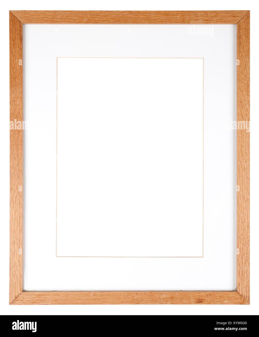 Leeres Bild Rahmen isoliert auf Weiss in einem einfachen Eiche Holz ...