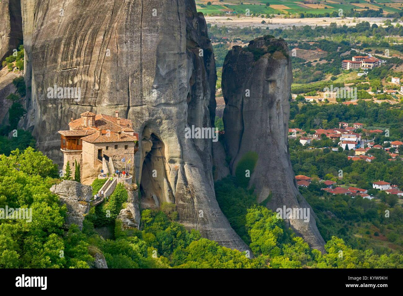 Griechenland - Meteora das Kloster Roussanou in Stockbild