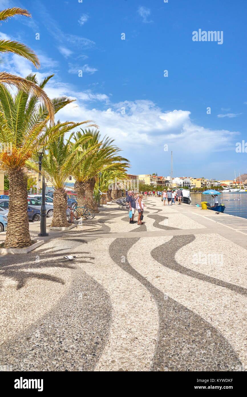 Promenade an der Stadt Argostoli, der Insel Kefalonia, Griechenland Stockbild
