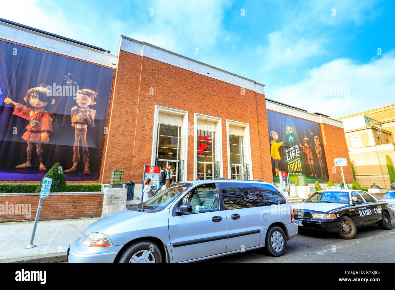 Portland, Oregon, Vereinigte Staaten - Dec 22, 2017: Fassade des Landmark Portland Art Museum. Es ist das älteste Kunstmuseum an der Westküste der Einheit Stockfoto